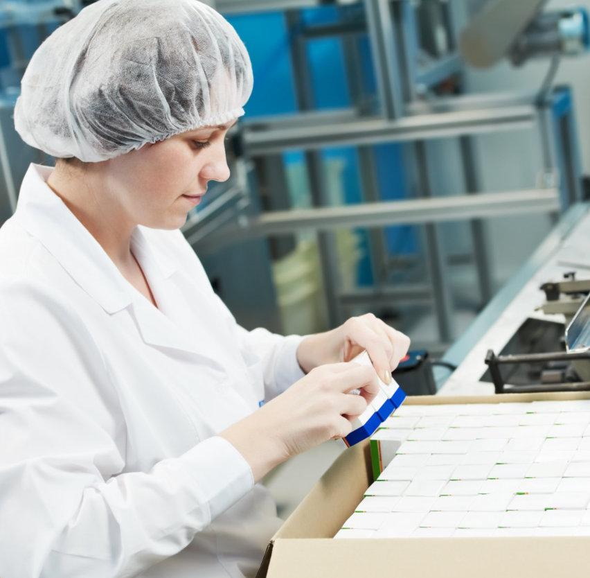Pharmaceutical factory jobs illustration
